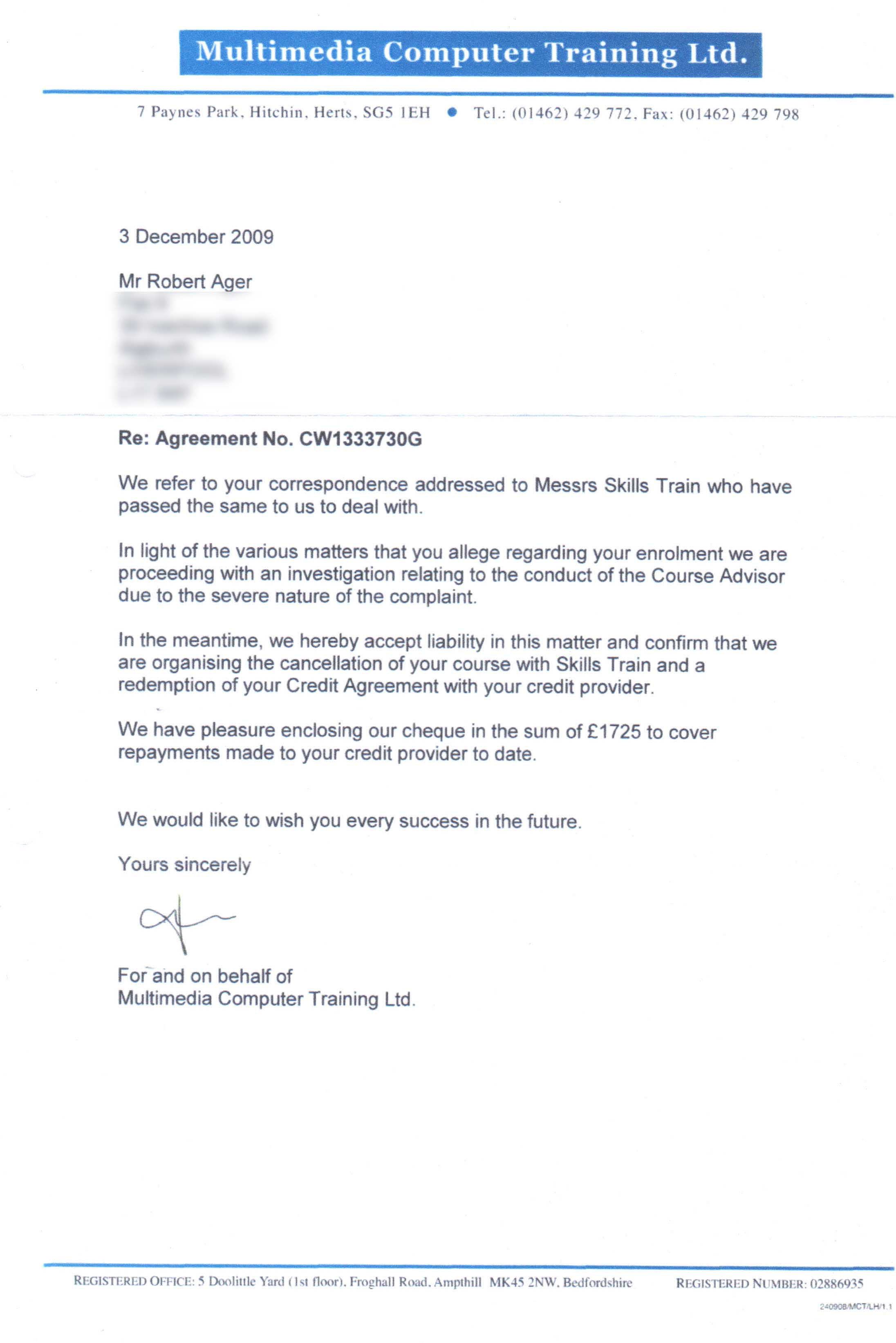 Metropolitan international schools information documents the refund letter spiritdancerdesigns Images